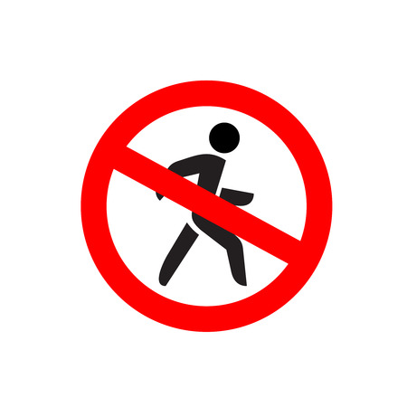avoidance: No entry symbol. Stop no walking pedestrian warning sign. No move right. Illustration