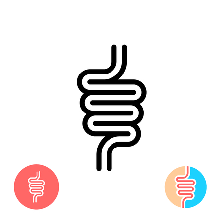Intestines black symbol icon. Simple linear rounded style.