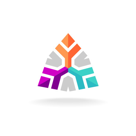 Three people together team geometric colorful flat style logo
