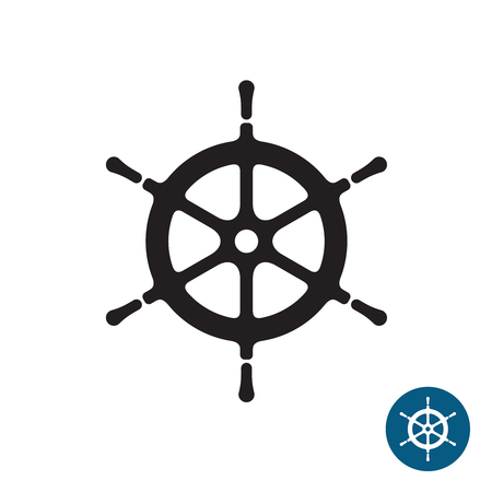 schooner: Ship helm black silhouette icon. Yacht boat rudder. Isolated on a white background. Illustration