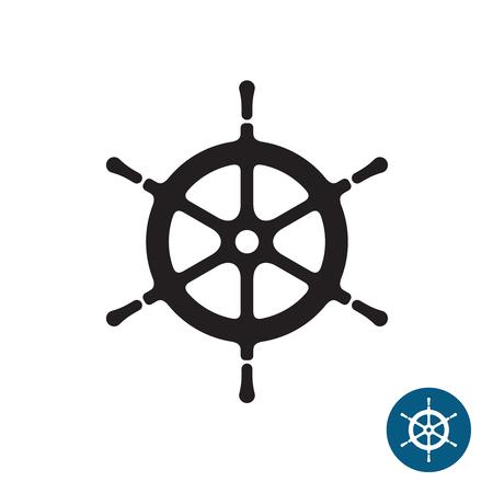 timon barco: Tim�n de la nave icono de la silueta en negro. Yate del tim�n del barco. Aislado en un fondo blanco.