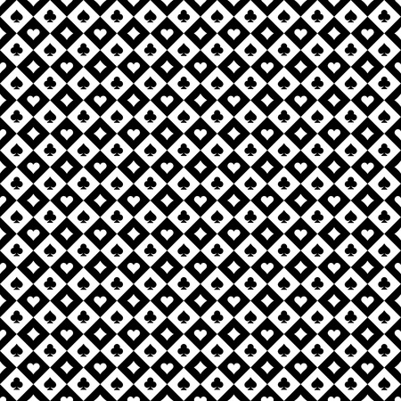 Playing cards signs casino black and white checkered seamless pattern background. Çizim