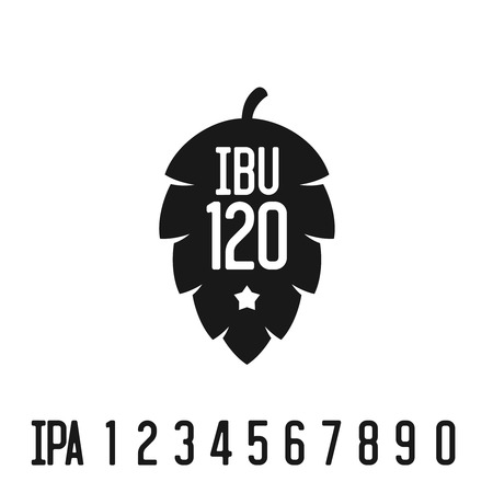 bitterness: IBU index . Hop pine black silhouette with bitterness mark abbreviation.