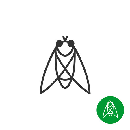 one animal: Cicada insect black outline icon. Line style fly . Illustration