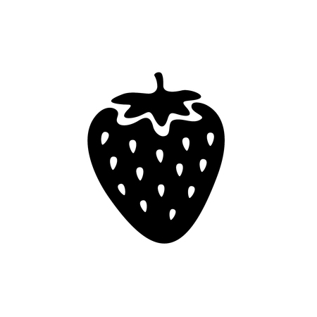 stencil: Strawberry simple black icon. One color simple cartoon style.