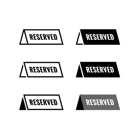 announcement icon: Reserved table icon. Black and white color variations.