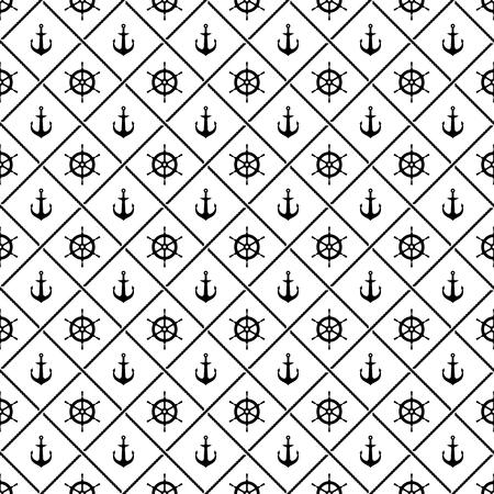 timon barco: anclas de barco y barco del yate del tim�n del tim�n con el cruce de cuerdas mar patr�n transparente. En blanco y negro.