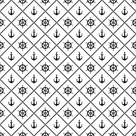 rudder ship: Ship anchors and yacht boat helm rudder with crossing sea ropes seamless pattern. Black and white.
