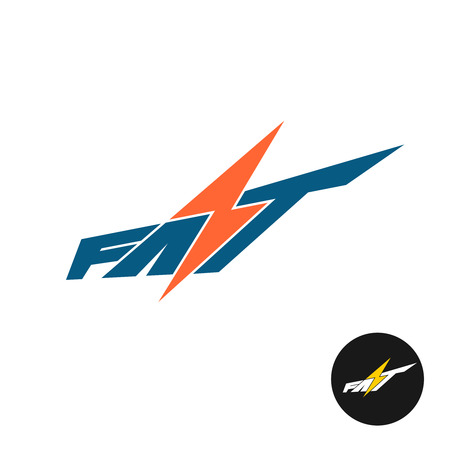 Fast word text logo. Dynamic speed concept with lightning bolt as S letter symbol. Vettoriali