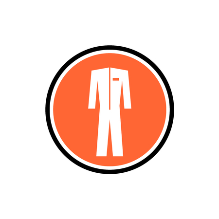 one color: Protective suit icon. One color symbol in a round info badge sign.