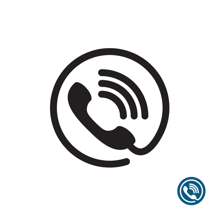 Phone black simple icon. Round with wire and sound waves symbol.