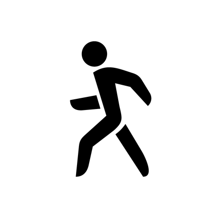 Walking man silhouette. On? black color isolated on a white background.
