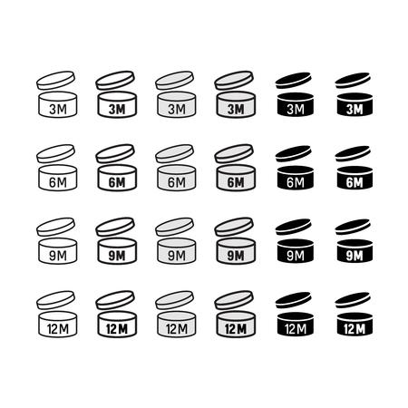 Date d'expiration après ouverture icons set. Boîte ronde avec couvercle ouvert symboles. Shelf signes de vie.