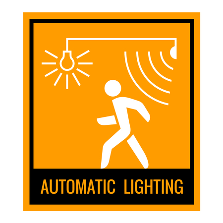 Automatic lighting concept attention sign table. Black, white and orange colors.