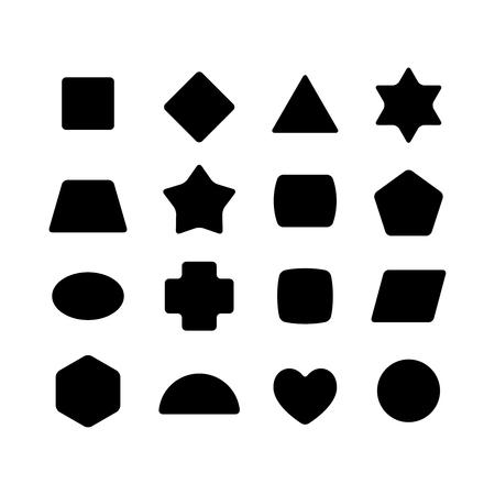 Set of geometric rounded kid toys shapes. Black on a white background.