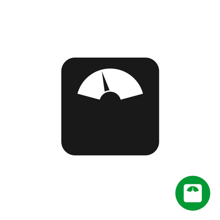 black floor: Floor scales black simple icon. Mechanical scales with arrow pointer. Illustration