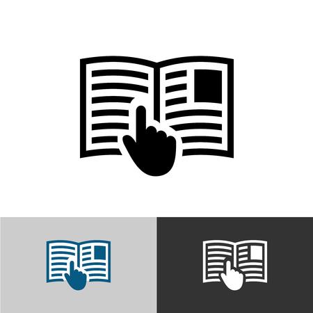 Gebruiksaanwijzing icoon. Open boek pagina's met tekst, afbeeldingen en hand pointer cursor symbool. Stockfoto - 54919335
