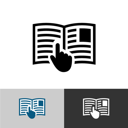 or instruction: Instruction manual icon. Open book pages with text, images and hand pointer cursor symbol.