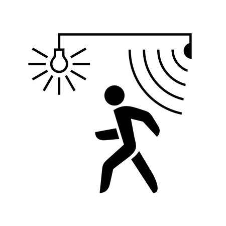 Walking man silhouette with lamp and sensor waves. Black color. Stock Illustratie