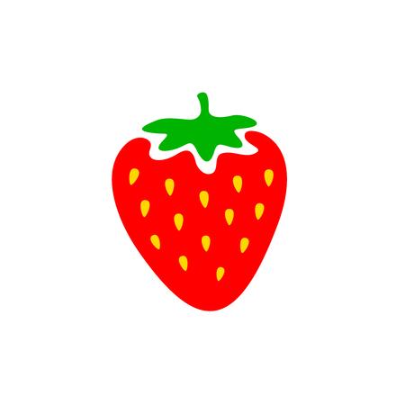 カラフルなイチゴ。イチゴの漫画スタイルのシンボルです。白い背景上に分離。  イラスト・ベクター素材
