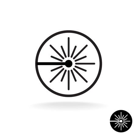 advertencia: Láser icono negro. flash de rayo láser chispas símbolo lineal en un círculo. Vectores