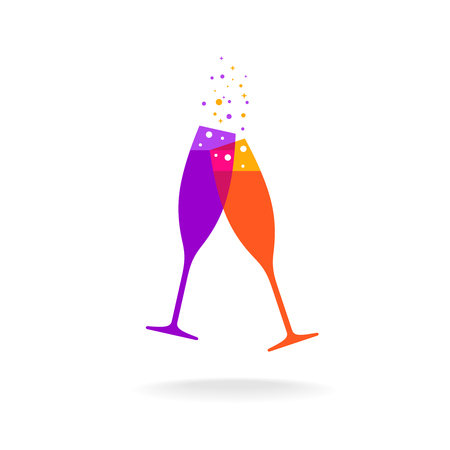flattened: Two champagne colorful glasses with bubble sparkles. Transparency are flattened.