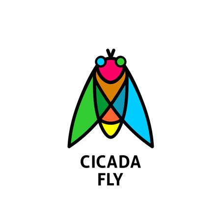 cicada: Cicada colorful symbol. Insect top view .