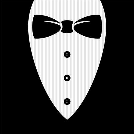 gentlemen: Bow tie with shirt, buttons and man black suit illustration.