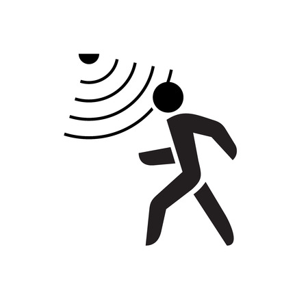 Walking man symbol with motion sensor waves signal. Stock Illustratie
