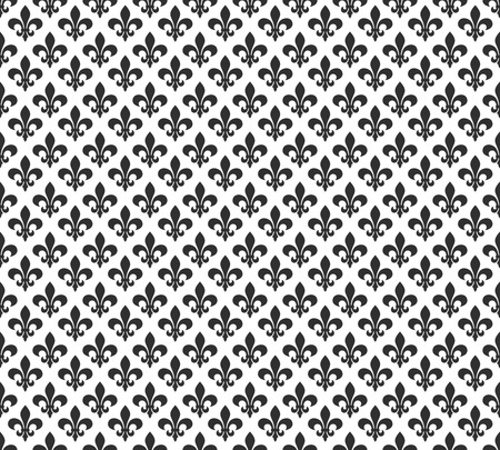 french symbol: Fleur de lis black and white seamless pattern background