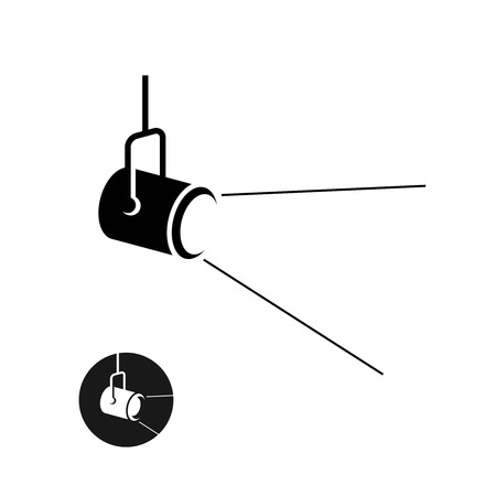 Spotlight black silhouette icon with light scattered rays 矢量图像
