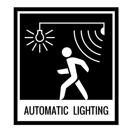 one color: One color warning sign. Automatic light control information. Illustration