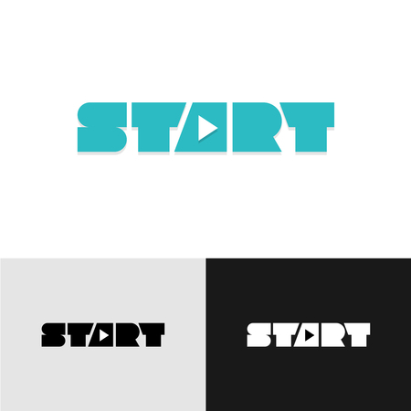 Start Word Text Logo With Play Triangle Symbol Inside Royalty Free