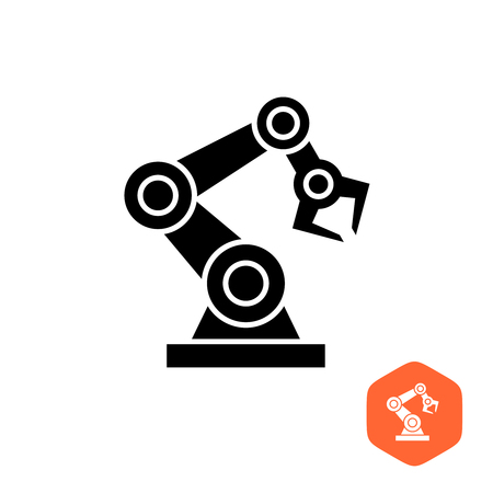 limb: Robotic hand manipulator black silhouette symbol icon. Robot limb .