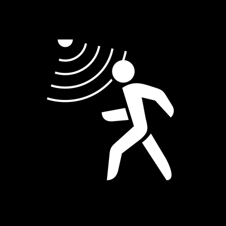 Walking man silhouette with motion sensor. White on black background.