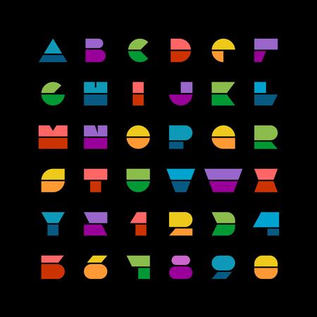 유행: 검은 색 바탕에 숫자 플랫 다채로운 기하학적 모양의 문자 스타일의 글꼴