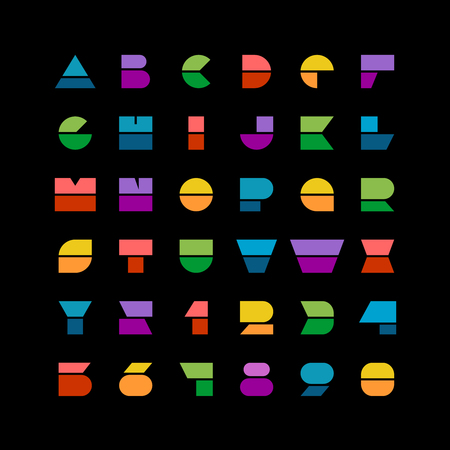 trend: Flat colorful geometric shapes letters style font with numbers on a black background