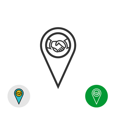 point: Meeting point . Handshake icon inside a geo map gps pin mark symbol.