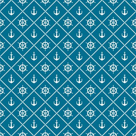 timon barco: Anclas y barco del yate del tim�n del tim�n con el cruce de cuerdas mar patr�n transparente. Blanco en colores azules.