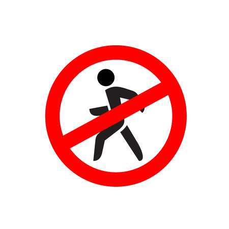 avoidance: No entry symbol. Stop no walking pedestrian warning sign. No move left. Illustration