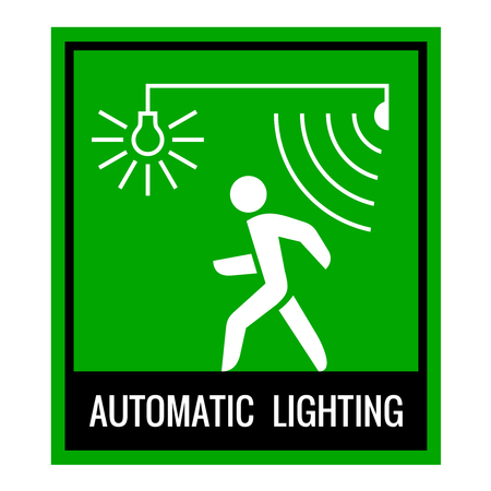 lighting system: Green signboard of a automatic lighting system information. Walk forward sign. Illustration