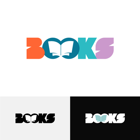text books: Books word text  with open book silhouette inside Illustration