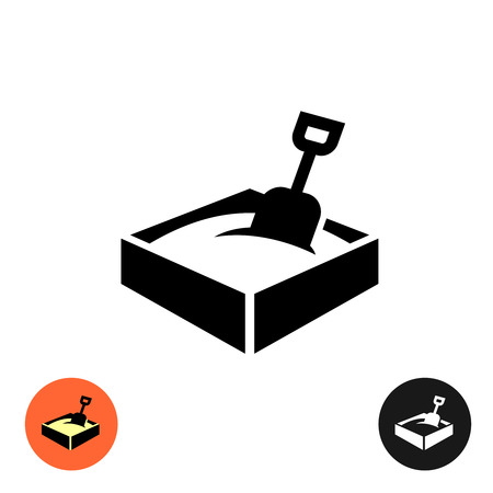 sandpit: Sandbox icon. Black sign with color and inverted versions. Illustration