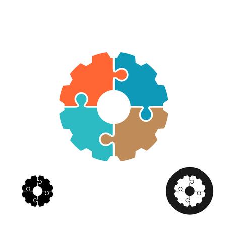 歯車の図形パズルやインフォ グラフィックの基本概念