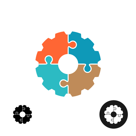 four objects: Gear shape puzzle  or infographic base concept Illustration