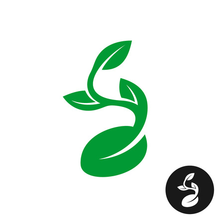 black seed: Sprout logo. One shape style plant with seed and green leaves vector illustration. Black version included.