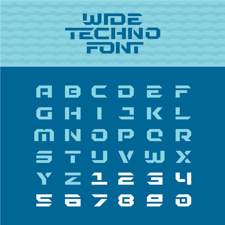 angular: Wide techno poster font. Geometric angular letters with numbers. Illustration