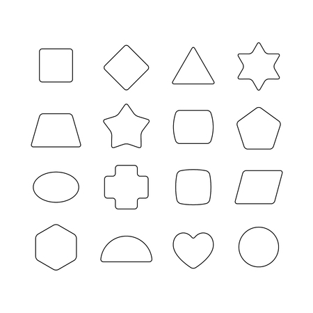trapeze: Linear thin geometric rounded shapes. Heart, star, hex, triangle, rhombus, rectangle, circle, trapeze, cross.