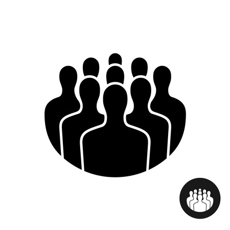 equal opportunity: Crowd of people black silhouette icon. Social interaction concept.