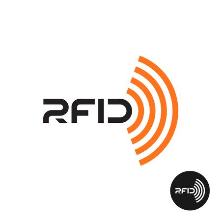 RFID タグのアイコン。無線の電波をテキスト。